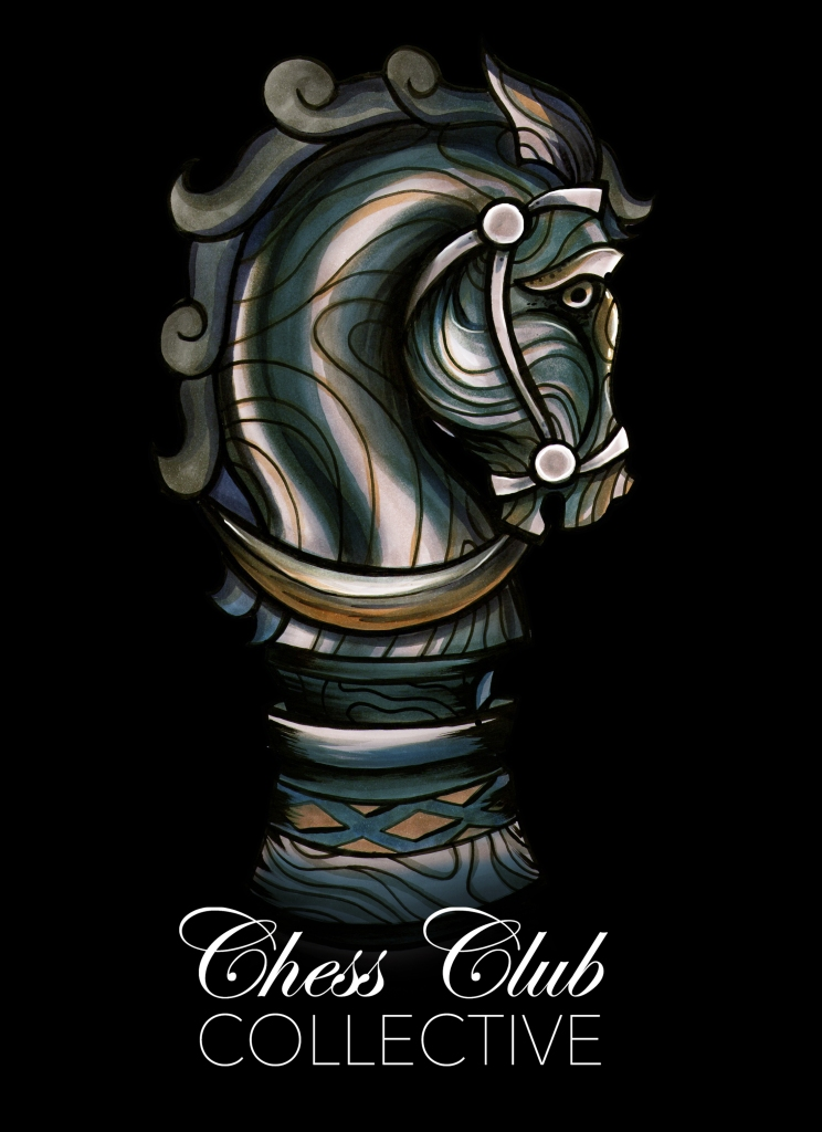 Knight artwork for the ChessClubCollective, Brisbane Clothing label